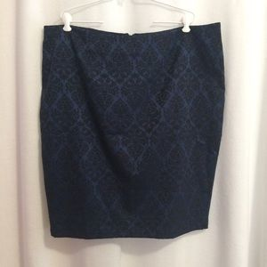 Old Navy Pencil Skirt Navy Blue Black Damask NWOT